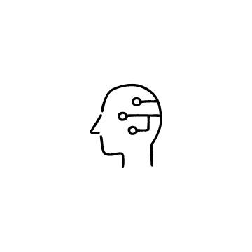 人の頭とAIのアイコン