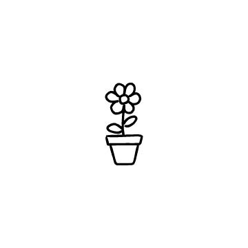 花と植木鉢のアイコン