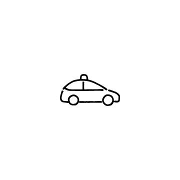 横向きのタクシーのアイコン