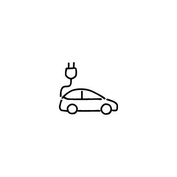 横向きの電気自動車のアイコン