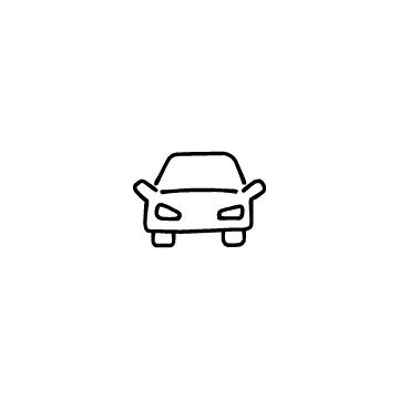 正面向きの自動車のアイコン