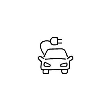 正面向きの電気自動車のアイコン