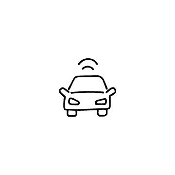 正面向きの自動運転車のアイコンのアイキャッチ用画像
