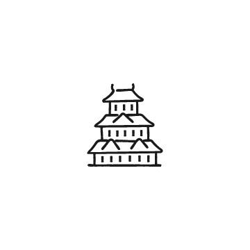 日本のお城のアイコンのアイキャッチ用画像