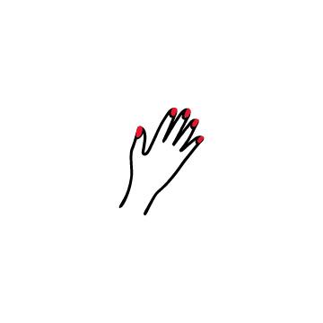 赤いマニキュアをした女性の手のアイコンのアイキャッチ用画像