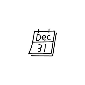 12月31日のカレンダーのアイコン