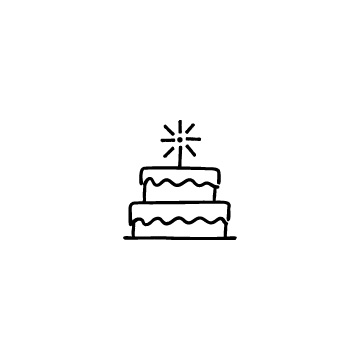 2段のバースデーケーキのアイコン