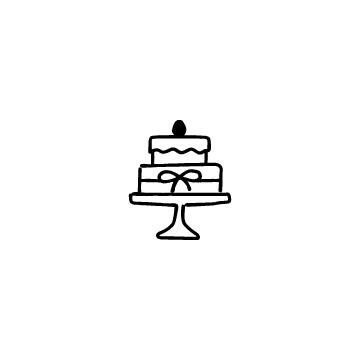 ケーキ台に乗ったケーキのアイコン