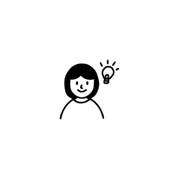 電球と女の子のアイコン