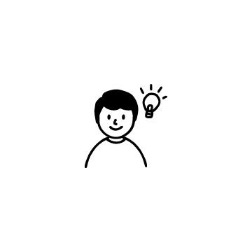 電球と男の子のアイコン