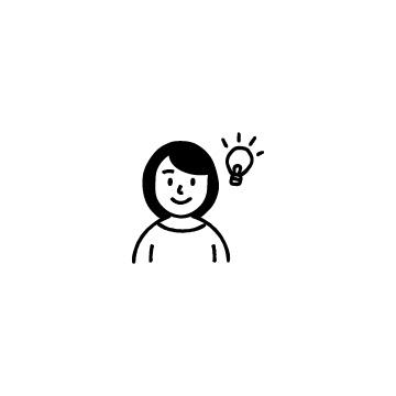 電球と女性のアイコン