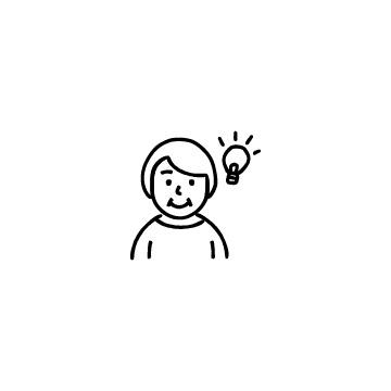 電球とシニア女性のアイコン