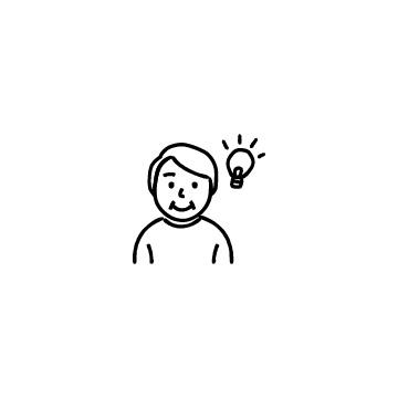 電球とシニア男性のアイコン