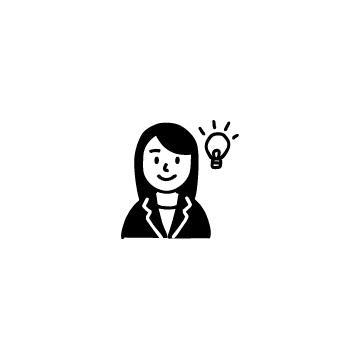 スーツを着た女性と電球のアイコン