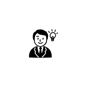 スーツを着た男性と電球のアイコン