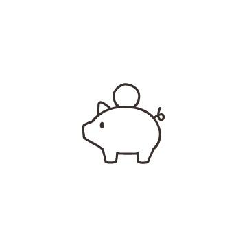 コインと豚の貯金箱のアイコン