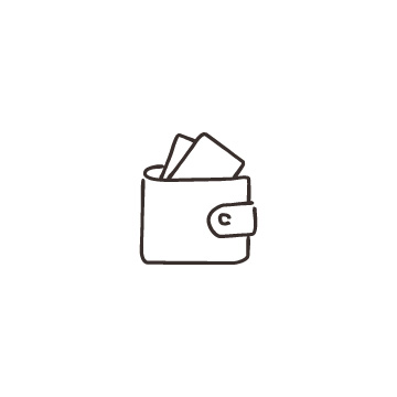 財布と紙幣のアイコン