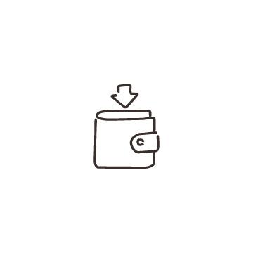 財布と下向き矢印のアイコン