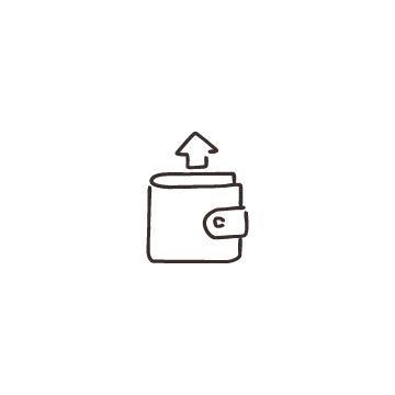 財布と上向き矢印のアイコン