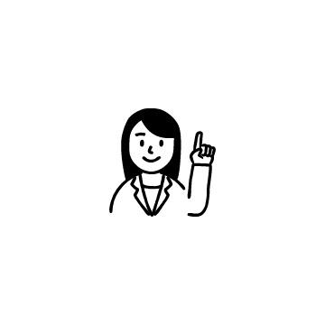 指さしをするスーツを着た女性のアイコン