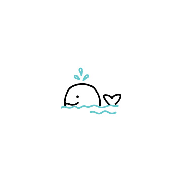 泳いでいるクジラのアイコン