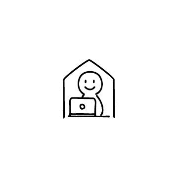 家の中でパソコンを使っている人のアイコンのアイキャッチ用画像