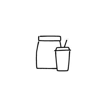 テイクアウト用紙袋とドリンクカップのアイコンのアイキャッチ用画像