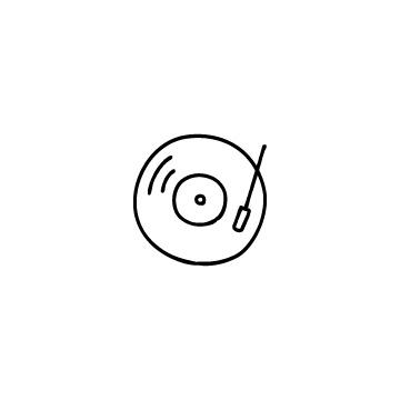 レコードとレコード針のアイコンのアイキャッチ用画像