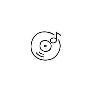 レコードと音符のアイコンのアイキャッチ用画像