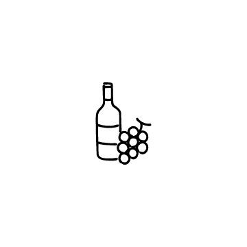 ワインボトルとぶどうのアイコン